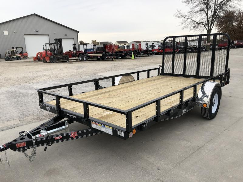 2020 83x14 TA PJ Trailers U8141 Utility Trailer - Straight Deck - Fold In Gate - Spare Tire MOUNT ONLY (GVW:  2995)