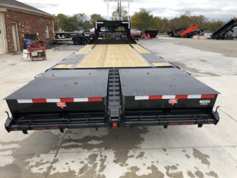 2020  102x25 (20+5) TA Low Pro Flatdeck Gooseneck PJ Trailers LS252 Equipment Trailer - Dovetail - Toolbox - Monster Ramps (GVW:  15680)