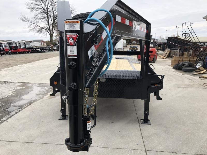 2020  102x25 (20+5) TA Low Pro Flatdeck Gooseneck PJ Trailers LS252 Equipment Trailer - Dovetail - Toolbox - Monster Ramps (GVW:  15680)