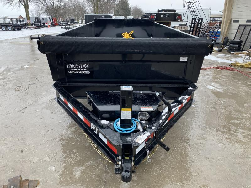 2020 83x16 TA Low Pro PJ Trailers DL162 Dump Trailer - Split/Spread Gate - Tarp Kit - Scissor Hoist - Spare Tire MOUNT ONLY (GVW:  14000)