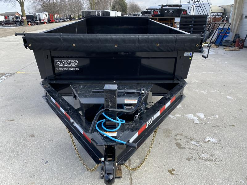 2020 83x14 TA Low Pro PJ Trailers DL142 Dump Trailer - Scissor Hoist - Tarp Kit - 6 Inch Cylinder Upgrade (GVW:  14000)