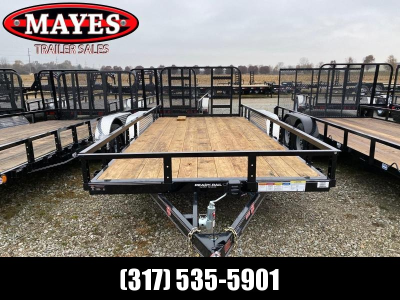 2020 83x18 (16+2) TA PJ Trailers UL182 Utility Trailer - Dovetail - HD Fold Up Gate (GVW:  9899)