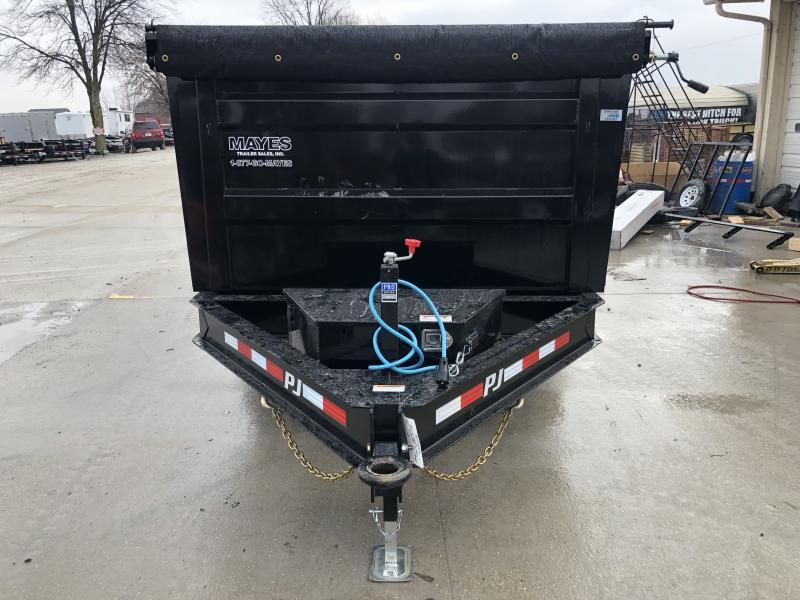 2020 83x14 TA Low Pro High Side PJ Trailers DM142 Dump Trailer - Split/Spread Gate - 3 Inch Pintle Eye - Tarp Kit (GVW:  14000)