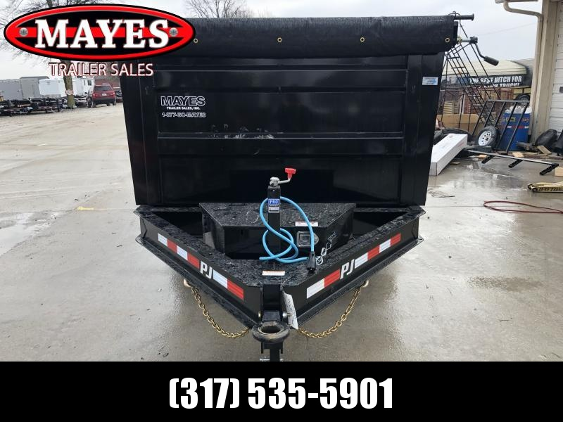 2020 83x14 TA Low Pro High Side PJ Trailers DM142 Dump Trailer - Split/Spread Gate - 3 Inch Pintle Eye - Tarp Kit (GVW:  14000)