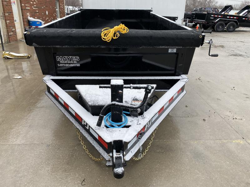 2020 83x12 TA Low Pro PJ Trailers DL122 Dump Trailer - Split/Spread Gate - Tarp Kit - Scissor Hoist - Spare Tire MOUNT ONLY (GVW: 14000)