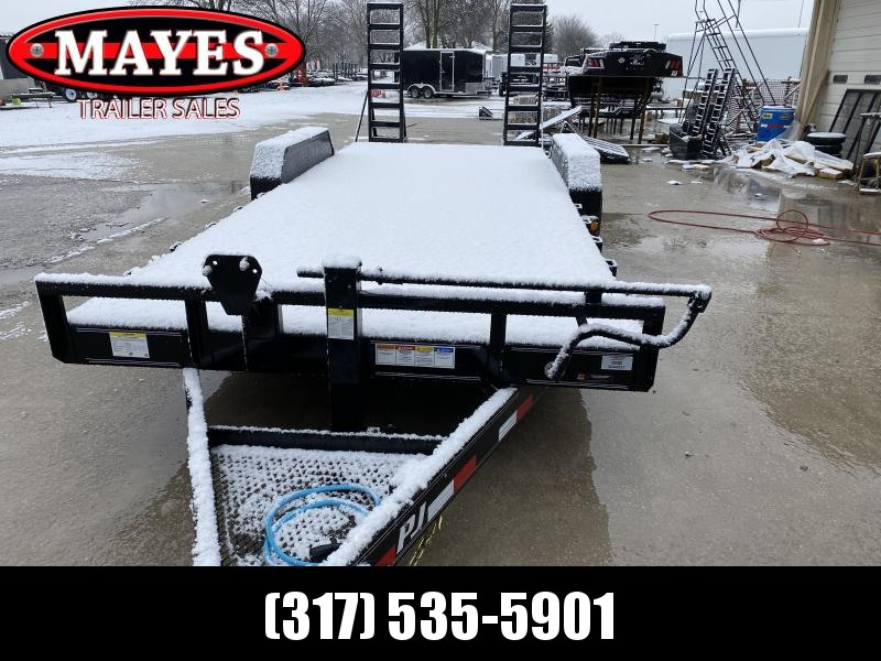 2020 83x20 (18+2) TA PJ Trailers CC202 Equipment Trailer - 6 Inch Channel Frame - Fold Up Ramps - Dovetail - Spare Tire MOUNT ONLY (GVW:  14000)