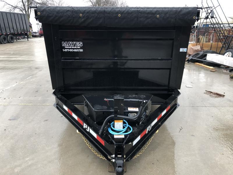 2020 83x14 TA Low Pro High Side PJ Trailers DM142 Dump Trailer - Spare Tire MOUNT ONLY - Split/Spread Gate - Tarp Kit (GVW:  14000)