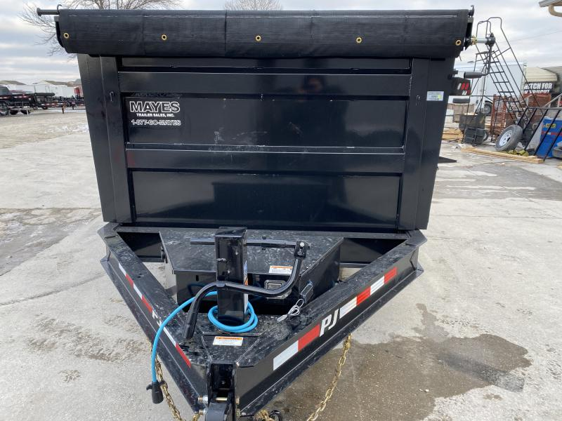 2020 83x14 TA Low Pro High Side PJ Trailers DM142 Dump Trailer - Scissor Hoist - Tarp Kit - Spllit/Spread Gate - 6 Inch Cylinder Upgrade (GVW:  14000)