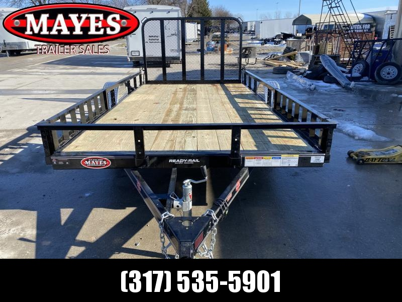 2020 83x14 SA PJ Trailers U8141 Utility Trailer - Fold In Gate - ATV Ramps - Spare Tire MOUNT ONLY (GVW:  2995)