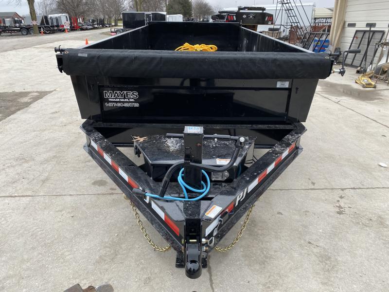 2020 83x16 TA Low Pro PJ Trailers DL162 Dump Trailer - Split/Spread Gate - Spare Tire MOUNT ONLY - Tarp Kit (GVW:  14000)