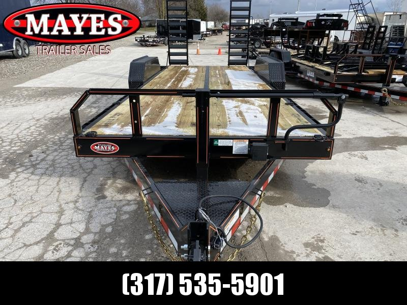 2020 20 Foot Straight Deck TA Hank HM-P7K20SKID Equipment Trailer - 7 Inch Channel Main Frame - HD Spring Assist Stand Up Ramps - Drop Axle - COMMERCIAL MODEL (GVW:  14000)