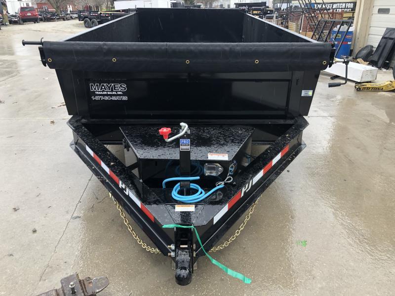 2020 83x14 TA Low Pro PJ Trailers DL142 Dump Trailer - Split/Spread Gate - Spare Tire MOUNT ONLY - Tarp Kit (GVW:  14000)