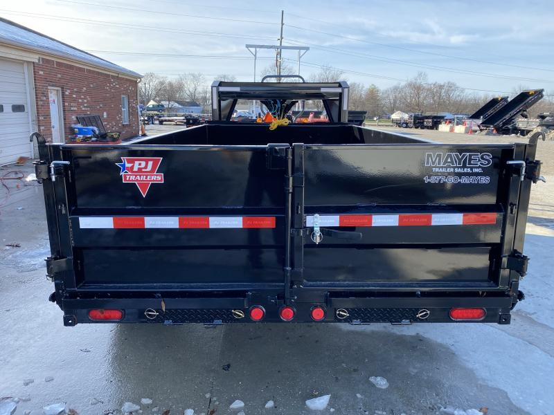 2020 83x14 TA Low Pro Gooseneck PJ Trailers DL142 Dump Trailer - Split Spread Gate - Tarp Kit (GVW:  15680)