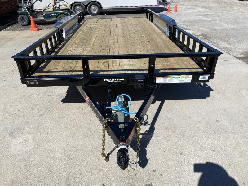 "2020 83x16 TA PJ Trailers 16' x 83"" Tndm Axle Channel Utility Trailer - Straight Deck - Slide In Ramps - ATV Ramps (GVW:  9899)"