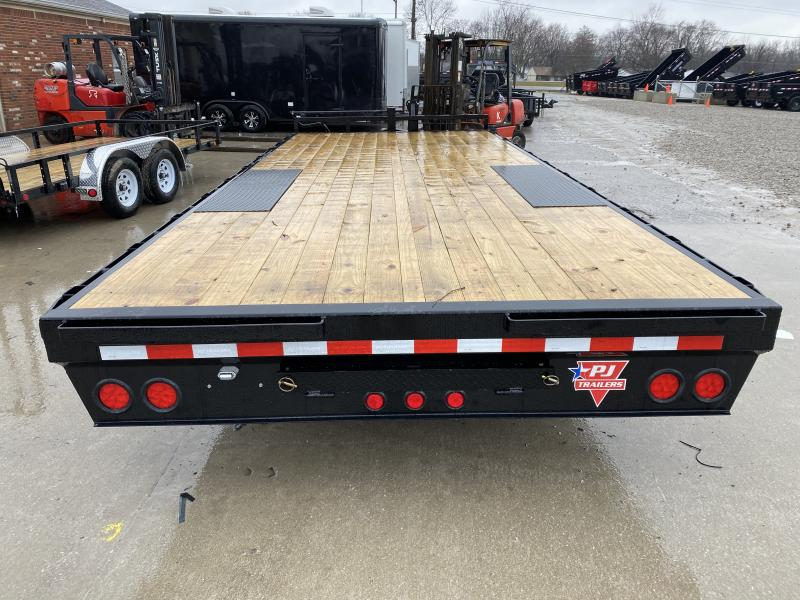 2020 102x20 TA PJ Trailers F8202 Equipment Trailer - 8 Inch I-Beam Deckover - Straight Deck - Slide In Ramps - Spare Tire MOUNT ONLY - 102 Inch Deck Width (GVW:  14000)