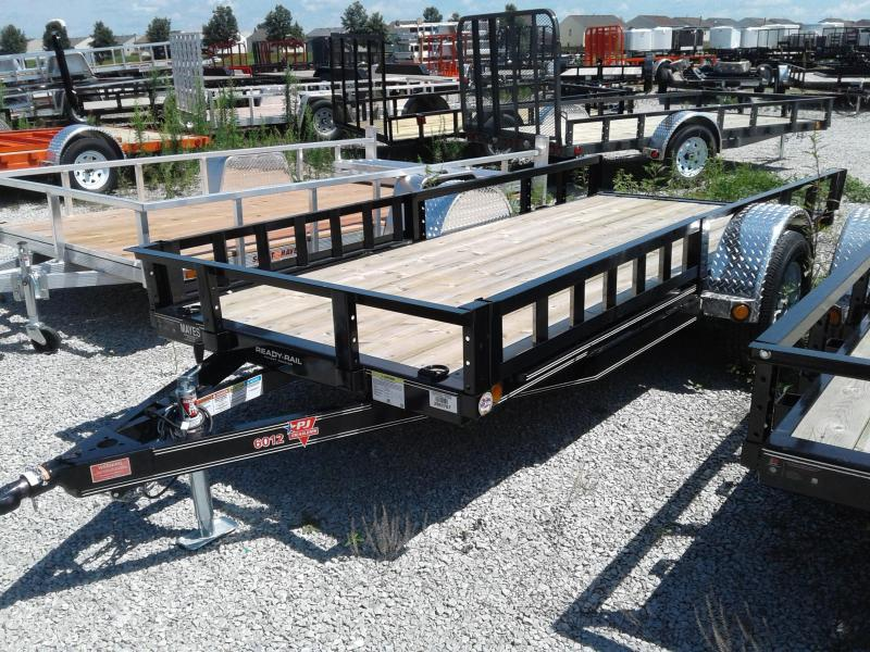 "2019 5x12 PJ Trailers U6 60"" Single Axle Channel Utility Trailer - Straight Deck w/ 5' Slide-in Ramps (GVW: 2995)(ATV Ramps)"