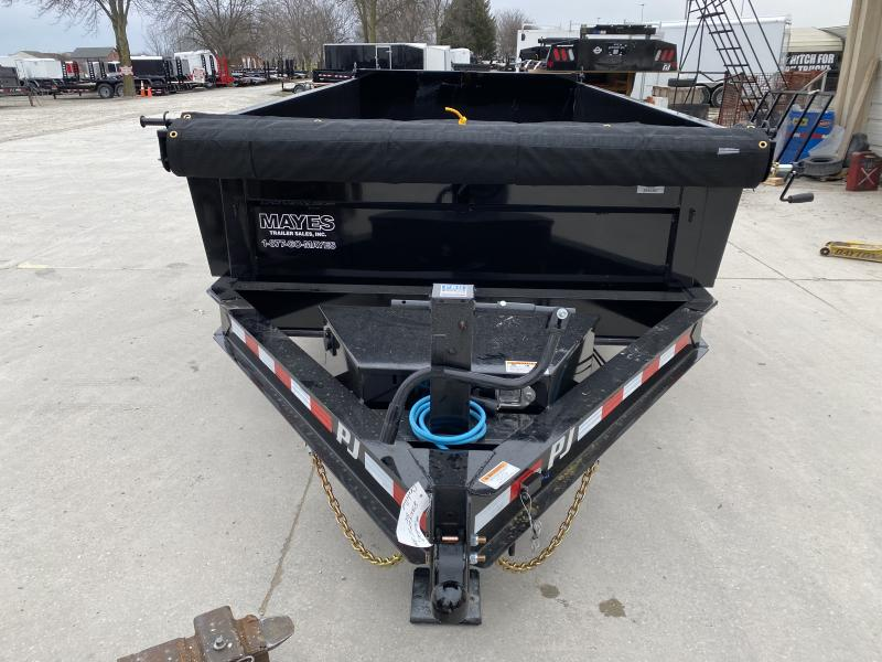 2020 83x14 TA PJ Trailers Low Pro Dump Trailer - Split/Spread Gate - Jack Upgrade - 6 Inch Cylinder Upgrade - Tarp Kit (GVW:  14000)