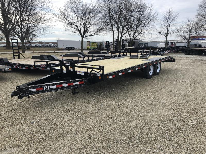 "2019 96x22 (19+3) PJ Trailers 22' x 8"" I-Beam Deckover Trailer - Spare Tire MOUNT ONLY - Fold Up Ramps - Dovetail (14000)"