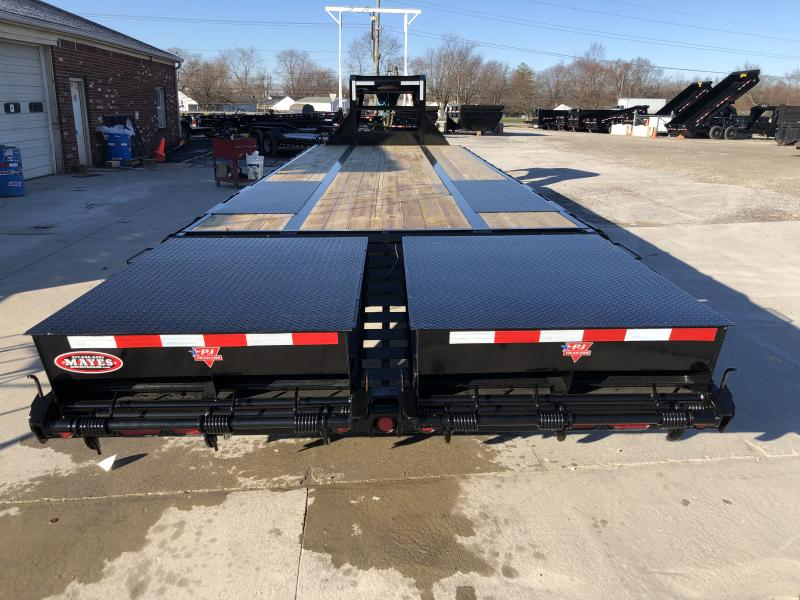 2020 102x30 (25+5) TA Low Pro Flatdeck PJ Trailers LD302 Equipment Trailer - Duals - Dovetail - Flip Over Monster Ramps (GVW:  25000)