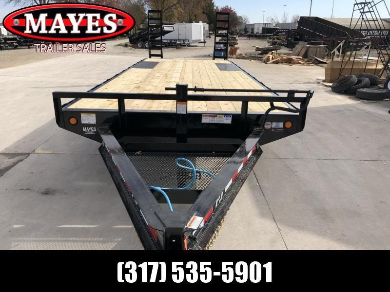 2020 96x24 (21+3) TA Deckover  PJ Trailers F8242 Equipment Trailer - 8 Inch I-Beam - Fold Up Ramps (GVW:  14000)