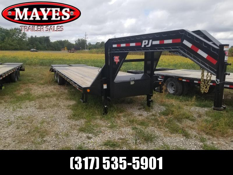 2020 102x30 Foot (25+5) TA PJ Trailers LD302 Equipment Trailer - Gooseneck - Flatdeck with Duals - Dovetail - Monster Ramps (GVW:  25000)
