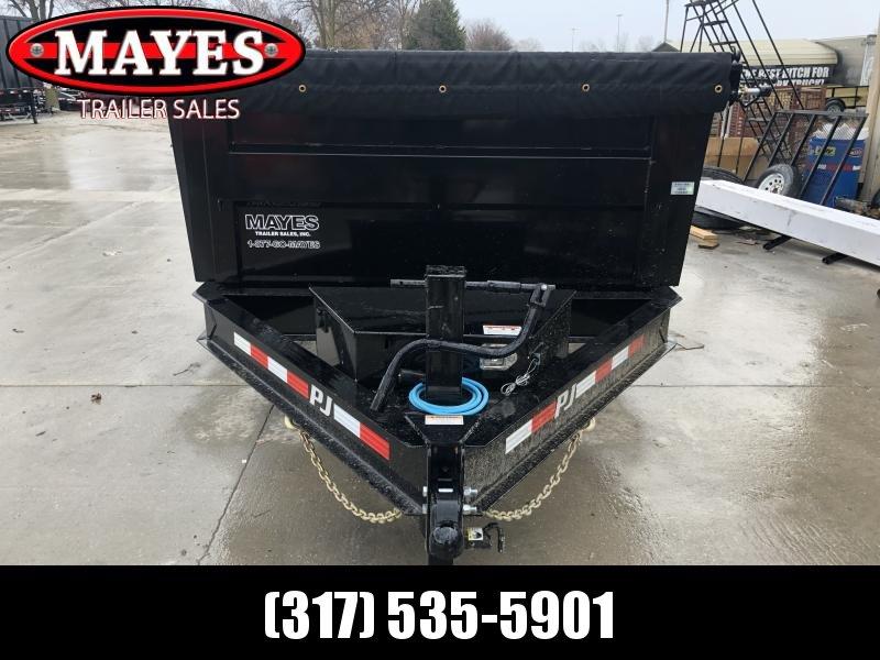 2020 83x14 Low Pro High Side PJ Trailers DM142 Dump Trailer - 3 Foot Tall Sides - Split/Spread Gate - Spare Tire MOUNT ONLY - Tarp Kit (GVW:  14000)