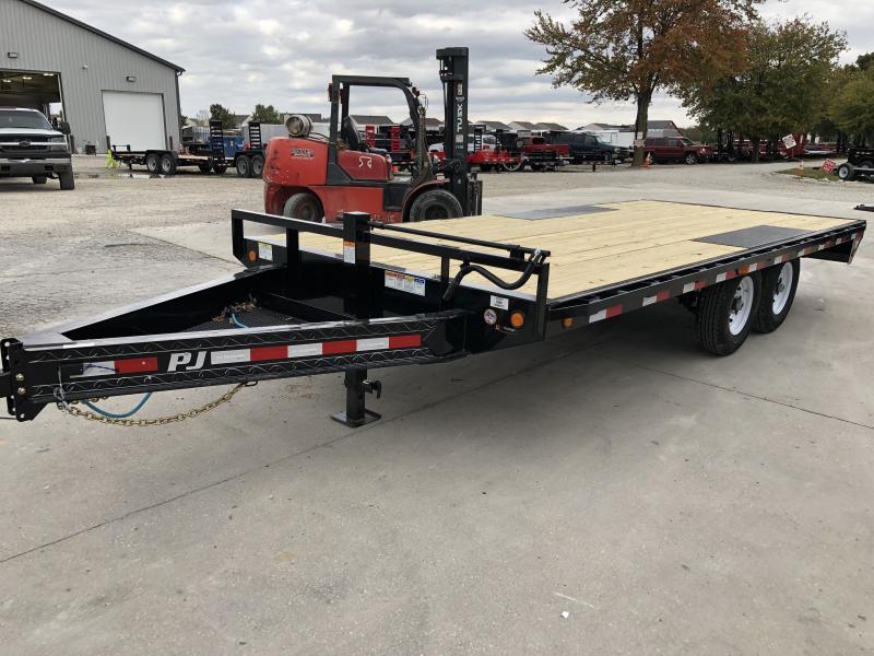 2020 96x18 TA Deckover PJ Trailers F8182 Equipment Trailer - 8 Inch I-Beam - Straight Deck - 6 Foot 6 Inch Slide In Ramps (GVW:  14000)