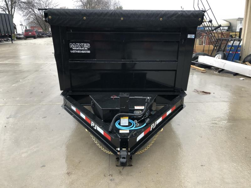 2020 83x14 Low Pro High Side PJ Trailers DM142 Dump Trailer - Split/Spread Gate - Spare Tire MOUNT ONLY - Tarp Kit (GVW:  14000)