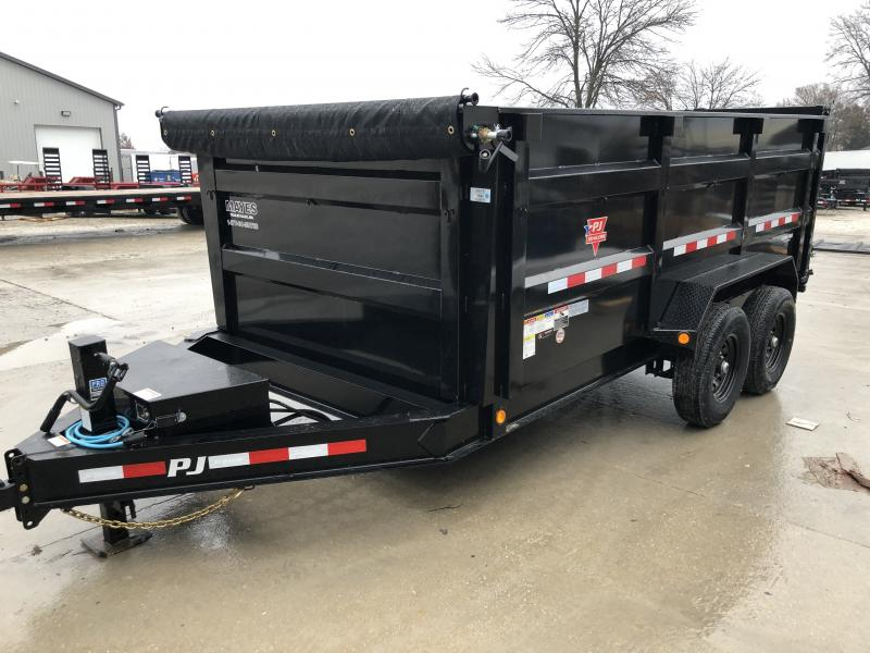 2020 83x14 Low Pro High Side PJ Trailers DM142 Dump Trailer - Split/Spread Gate - Spare Tire MOUNT ONLY - Tarp Kit (GVW:  14000)