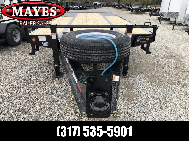 2020 102x25 (20+5) TA Low Pro with Duals PJ Trailers PL252 Equipment Trailer - Pintle - Flip Over Monster Ramps - (GVW:  25000)