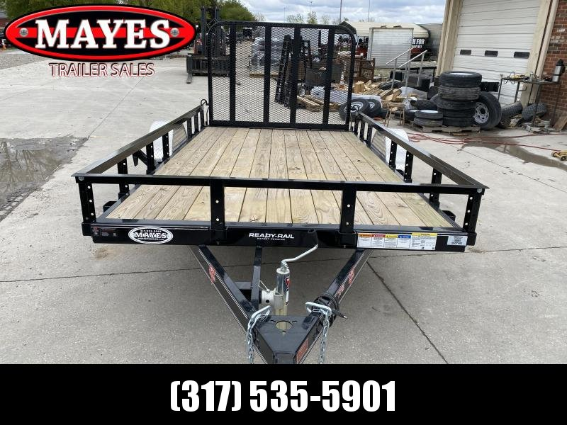 2020 PJ Trailers U7121 Utility Trailer - 77x12 SAUT - Straight Deck - Treated Wood Floor - Fold In Gate - Spare Tire MOUNT ONLY (GVW:  2995)