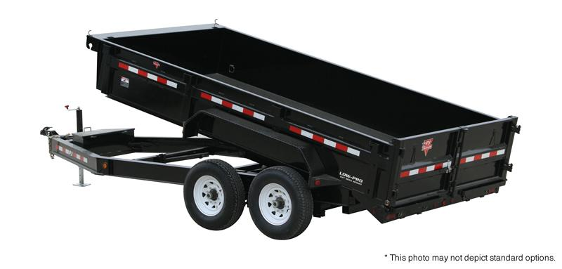 "2020 83x14 TA PJ Trailers 14' x 83"" Low Pro Dump Trailer - Split/Spread Gate - Jack Upgrade - Tarp Kit (GVW;  14000)"