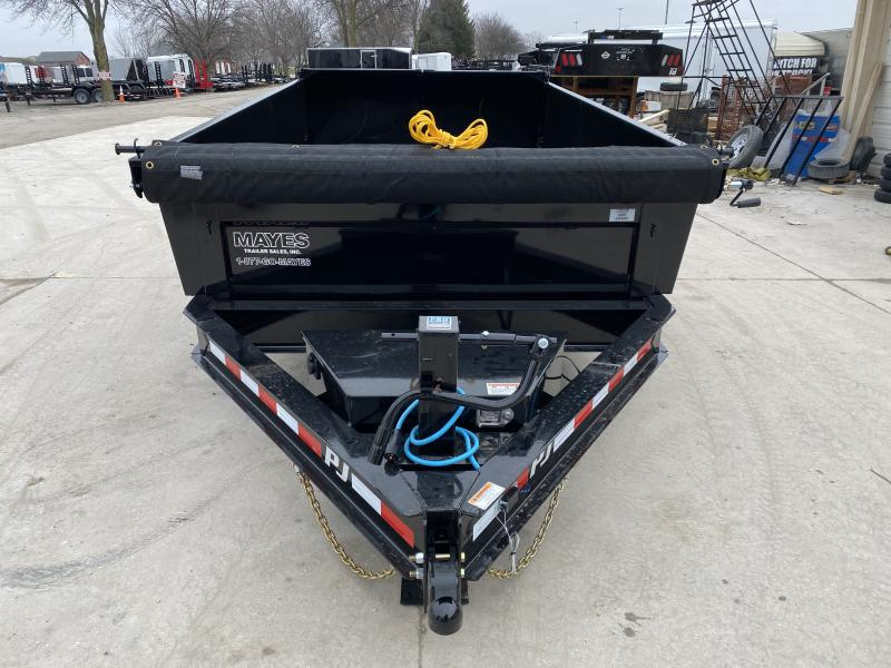 202083x12 TA Low Pro PJ Trailers DL122 Dump Trailer - Split/Spread Gate - Spare Tire MOUNT ONLY - Tarp Kit (GVW:  14000)