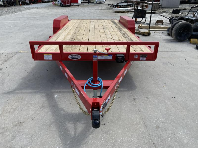 "2020 83x18(16+2) PJ Trailers CE 5"" Channel Car / Racing Trailer - w/ 5ft Rear Slide-in Ramps (GVW: 9899) *Red Powdercoat*"