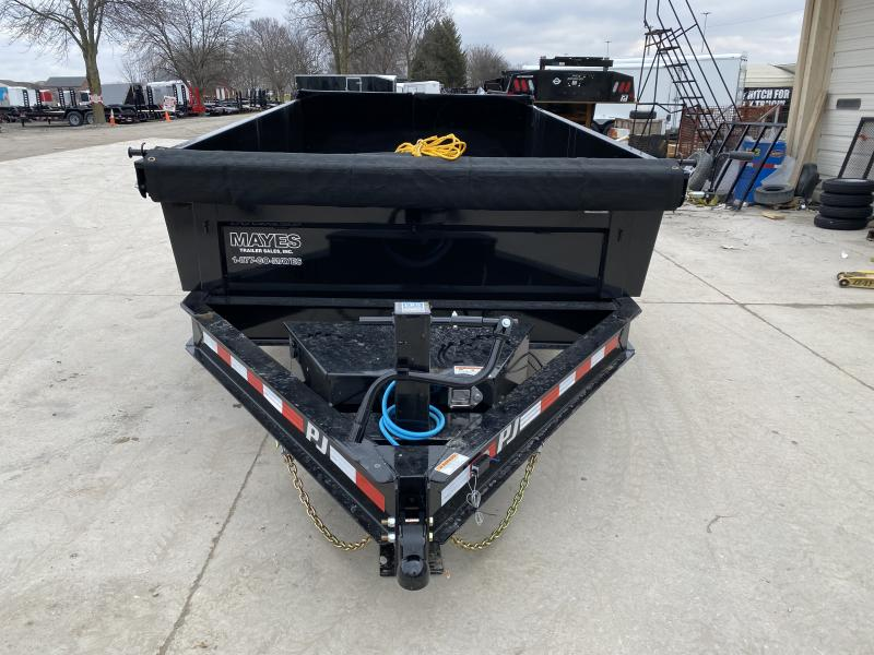 2020 83x12 TA Low Pro PJ Trailers DL122 Dump Trailer - Split/Spread Gate - Spare Tire MOUNT ONLY - Tarp Kit (GVW:  14000)