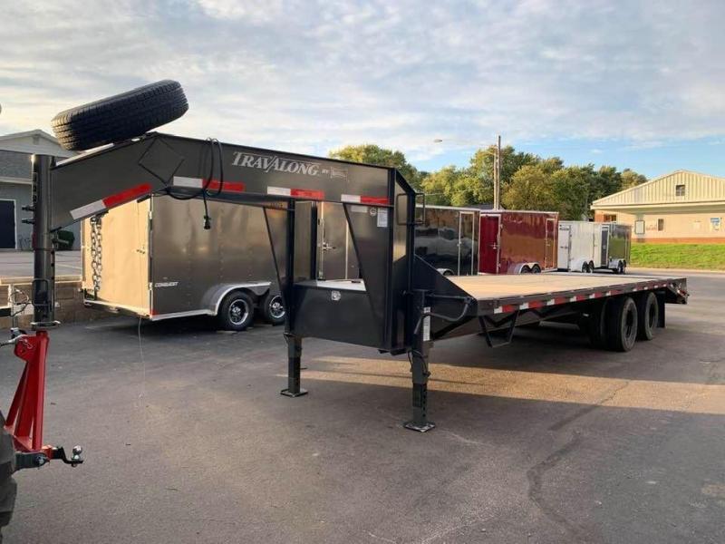 2020 Travalong 27' Gooseneck Deckover 20K GVWR w/ Full Width Ramps Equipment Trailer