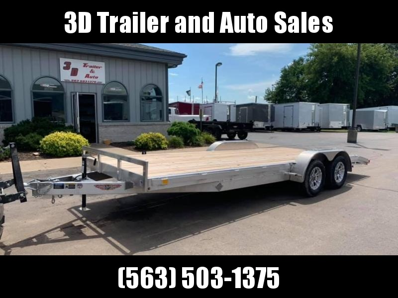"2019 H & H 82"" x 20' 7k Aluminum Flatbed Car Trailer"