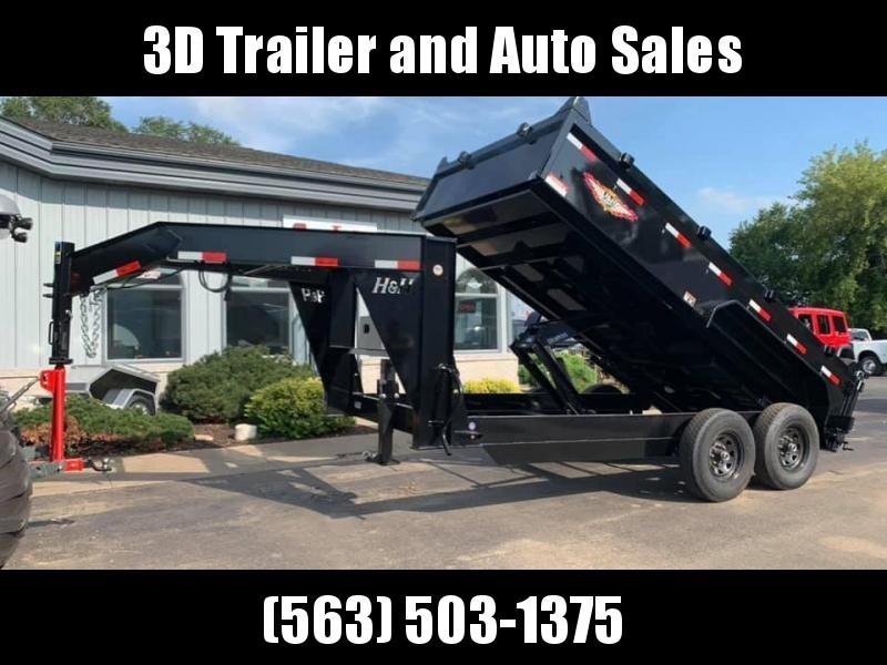 "2019 H and H 83"" x 14' 14k Gooseneck Scissor Lift Dump Trailer"