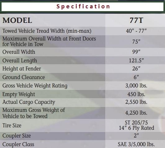 2019 Master Tow Model 77T Tow Dolly