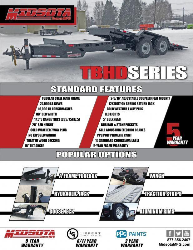 "2020 Midsota ""BRUTUS"" TBHD-22' Tilt Bed Equipment Trailer 22k GVWR"