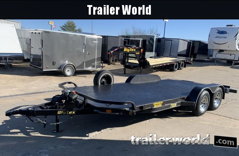 2009 Big Tex 70DM 18' Open Steel Car Hauler Trailer Winch Pkg