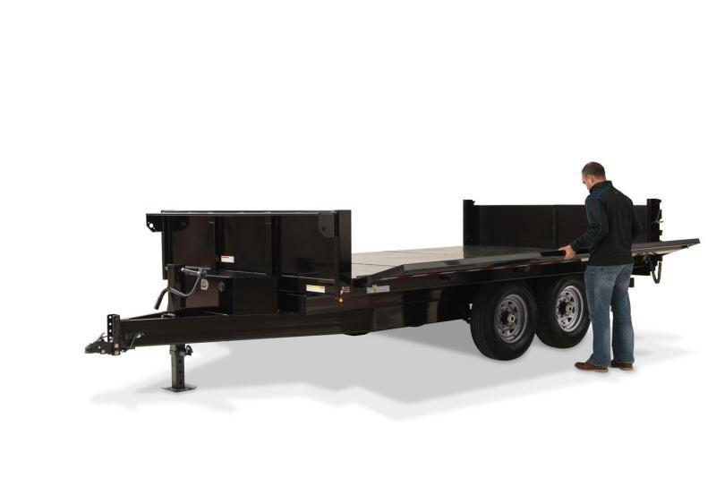 2020 Sure-Trac 16' x 8' Deckover Dump w/ Fold-Down Sides Dump Trailer