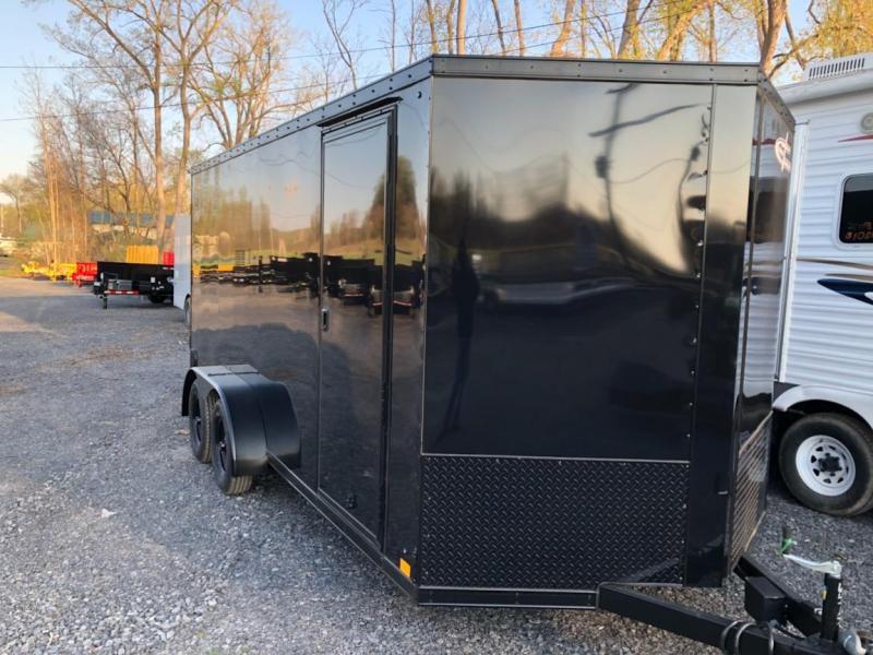Black Out Cross 714TA Enclosed Cargo Trailer w/ Ramp Door