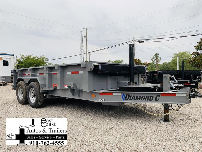 "2020 Diamond C Trailers 14' Low Profile Super Heavy Duty 7 GA Steel Dump Trailer with Trunnion Hoist & 24"" side walls"