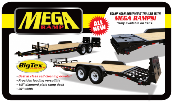 2019 Big Tex 14ET 20' Equipment Trailer with Mega Ramps and 14K GVWR