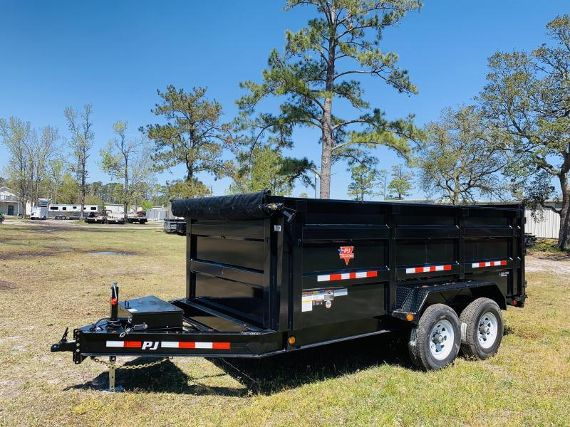 "PJ Trailers DM142 (7' X 14"") Low Pro Dump Trailer with 4' High Sides"