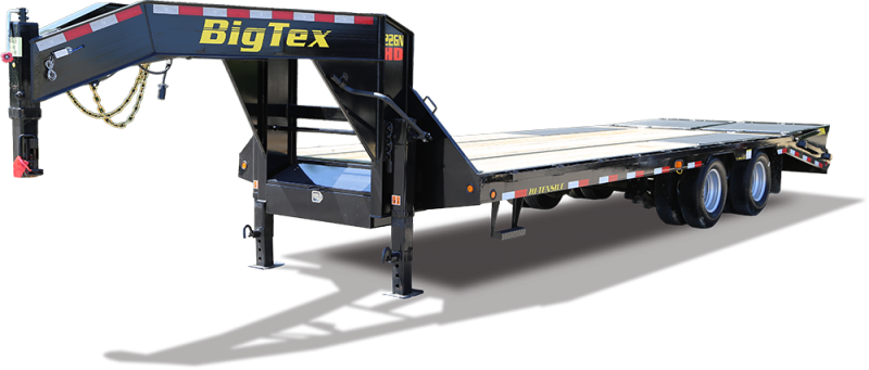 Big Tex HD 25GN 35' Flatdeck Gooseneck Trailer with 5' Mega Ramps on the Dove Tail