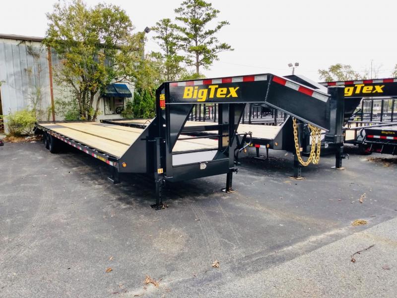 Big Tex HD 25GN 35' Flatdeck Gooseneck Trailer with 5' Mega Ramps on the Dove Tail