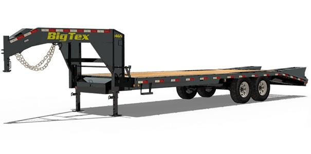 Big Tex Trailers 14GN 20' Flatdeck Gooseneck Trailer with 5' Mega Ramps on the Dove Tail