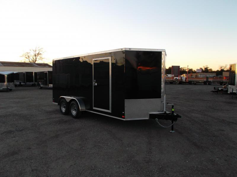 SPECIAL - 2019 Covered Wagon Trailers 7x16 Tandem Axle Cargo Trailer / Enclosed Trailer / Ramp / RV Side Door / LEDs
